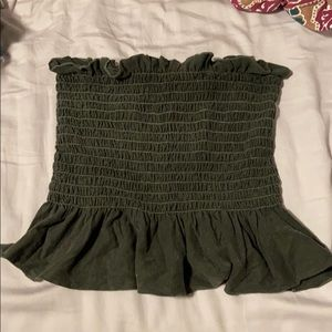 Urban Outfitters Charcoal Gray Ruched Tube Top